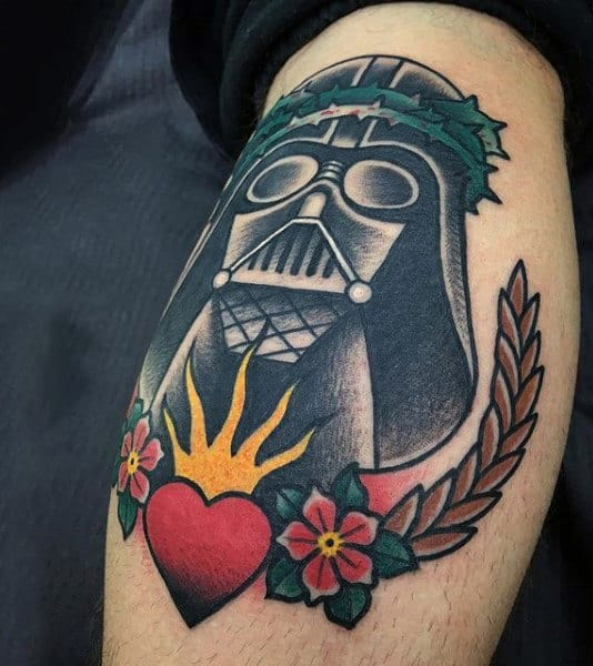 Mens Arms Heart Floral Darth Vader Tattoo
