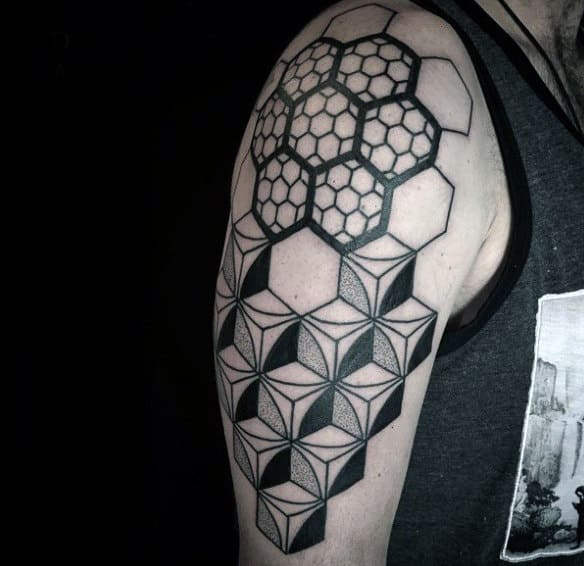 Mens Arms Honeycomb And Geometric 3D Blocks Tattoo