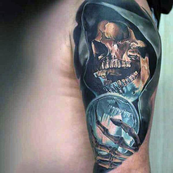 Mens Arms Horrendous Skull With Glass Ball Realism Tattoo