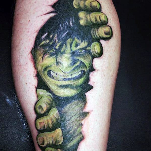 Mens Arms Hulk Ripping Skin Tattoo