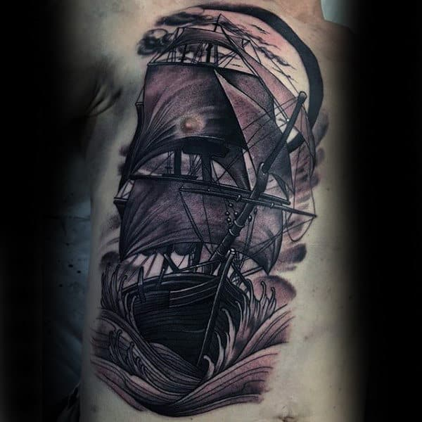 Mens Arms Interesting Sailing Ship Tattoo