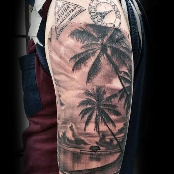 Mens Arms Interesting Sepia Toned Palm Trees And Still Waters Tattoo