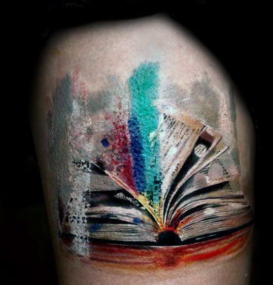 Mens Arms Lovely Watercolor Painting Tattoo Of Book