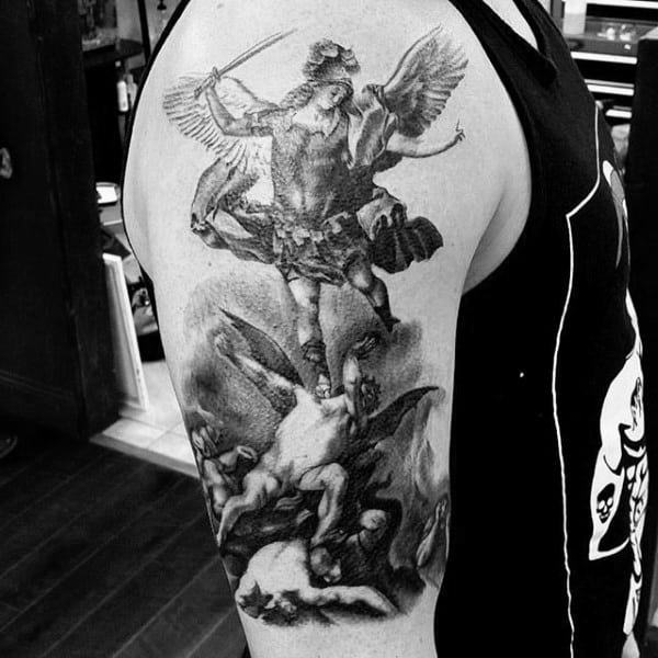 Mens Arms Marvellous Religious Tattoo Angels