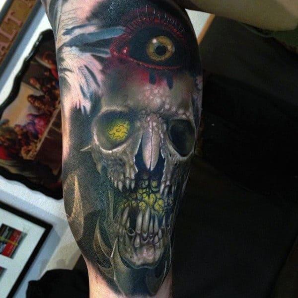 Mens Arms Mustard Eyed Skull Tattoo