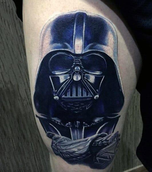 Mens Arms Navy Blue Darth Vader Tatto
