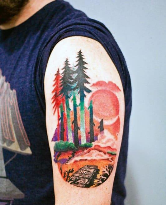 Mens Arms Orange Sun Watercolor Tree Tattoo