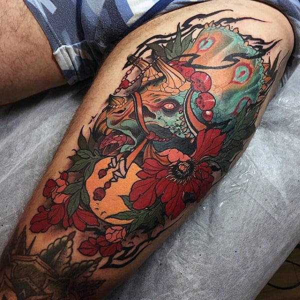 Mens Arms Oriental Flowers And Dinosaur Tattoo