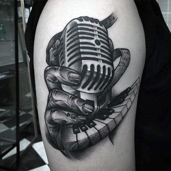 Mens Arms Piano Keys And Microphone Tattoo