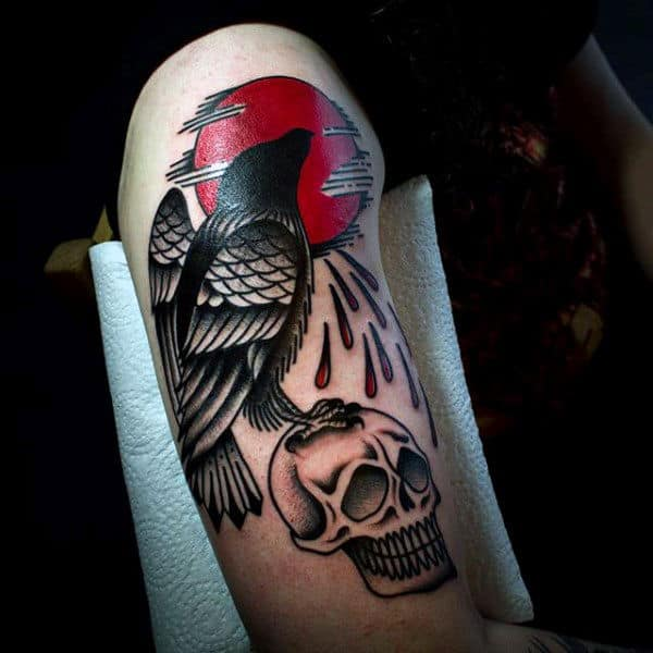 Mens Arms Raven And Skull Tattoo
