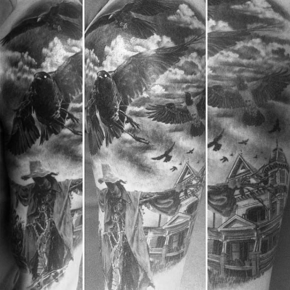 Mens Arms Ravens Scarecrow And Haunted House Tattoo