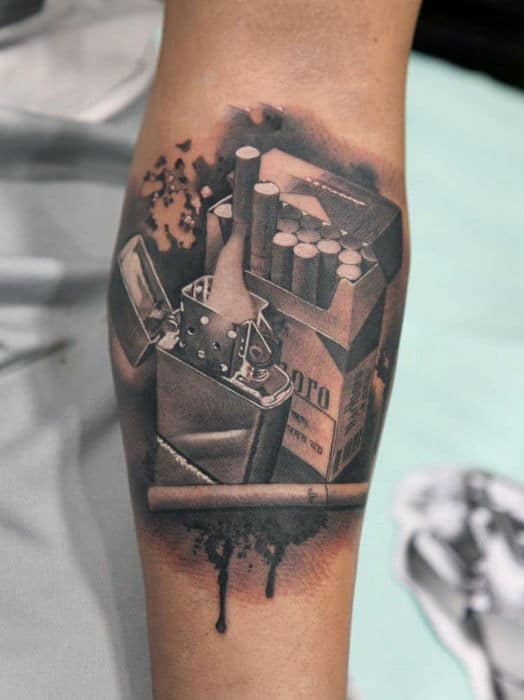 Mens Arms Realistic Cigarette Tatto