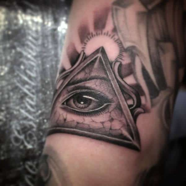 Mens Arms Realistic Illuminati Tattoo