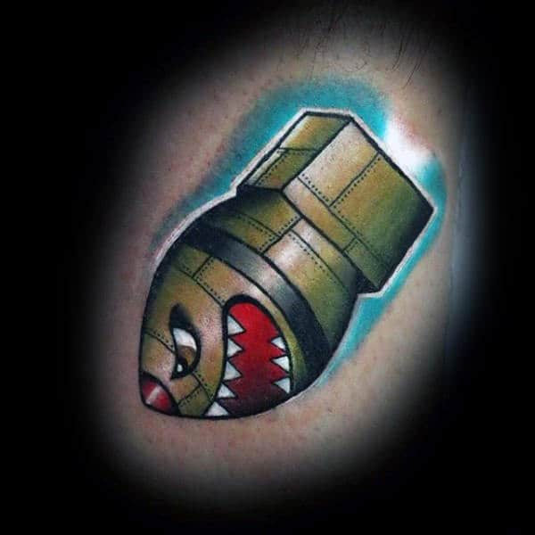 Mens Arms Sharp Toothed Bomb Tattoos
