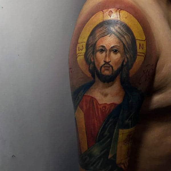 Mens Arms Shiny Religious Tattoo