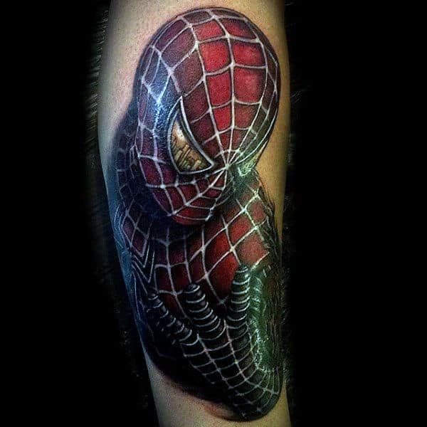 Mens Arms Shiny Spiderman Tattoo