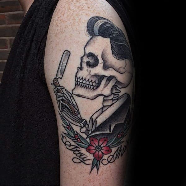 Mens Arms Skull Holding Straight Razor Tattoo