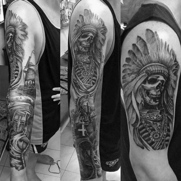 100 warrior tattoos for men battle ready design ideas for Arm mural tattoos