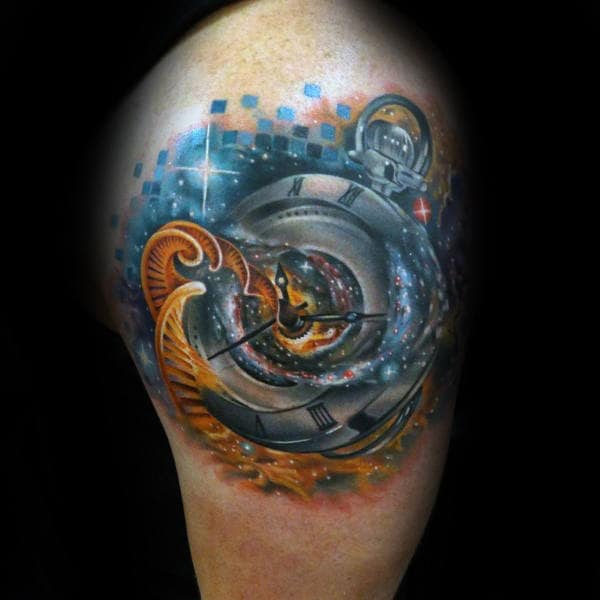 Mens Arms Spiral Astronomical Clock Tattoo