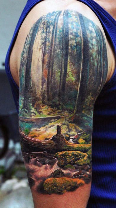 Mens Arms Stunning Forest Realism Tattoo