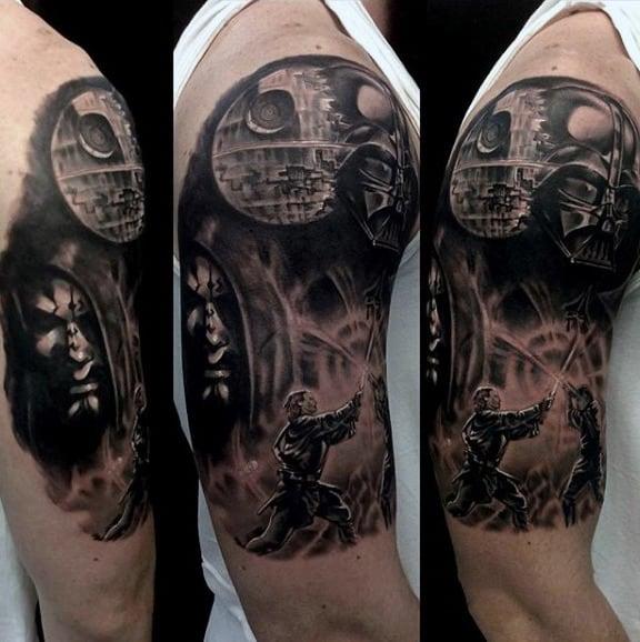 Mens Arms Sword Fight Grey Darth Vader Tattoo