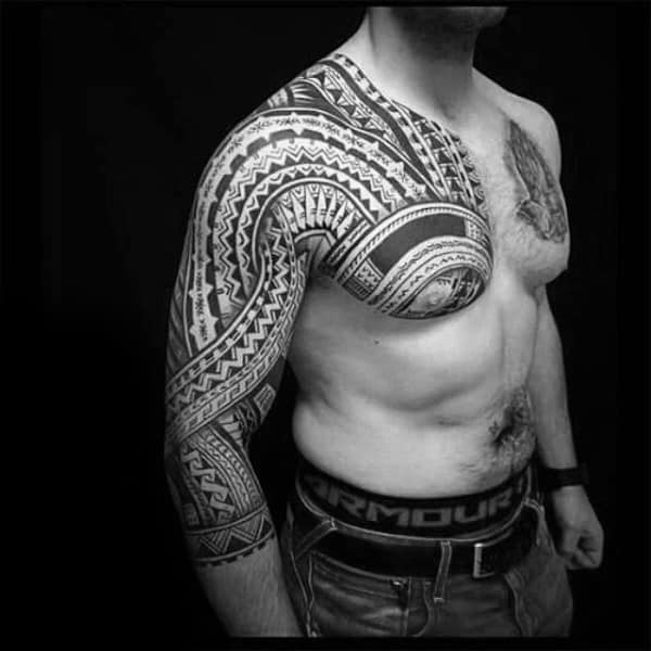 Mens Arms Tribal Half Sleeve Tattoo Inspiration