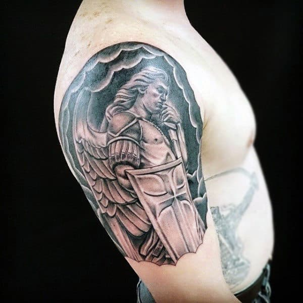 Mens Arms Warrior Angel With Shield Tattoo