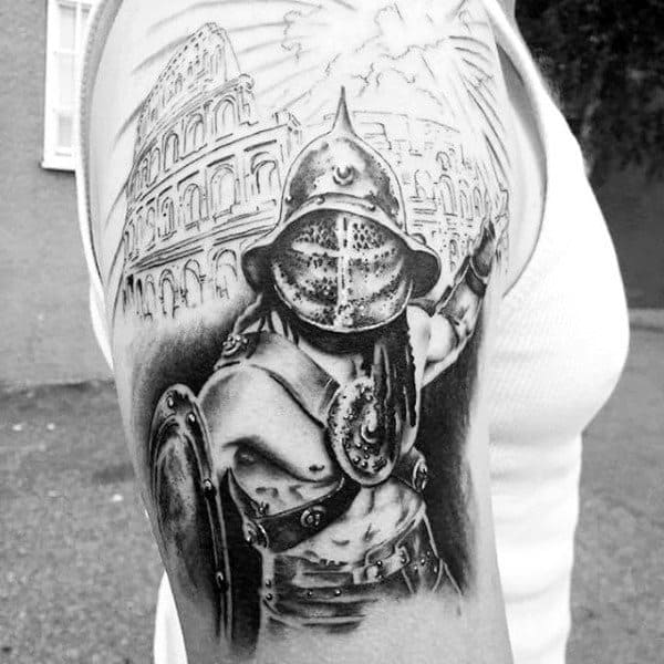 Mens Arms Warrior In Rome Tattoo
