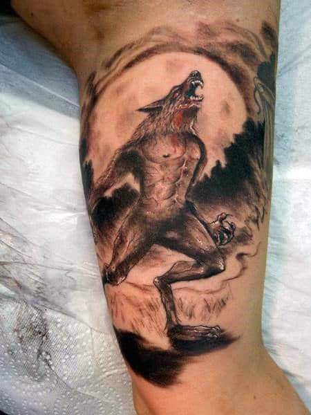 Mens Arms Werewolf Bite Tattoo