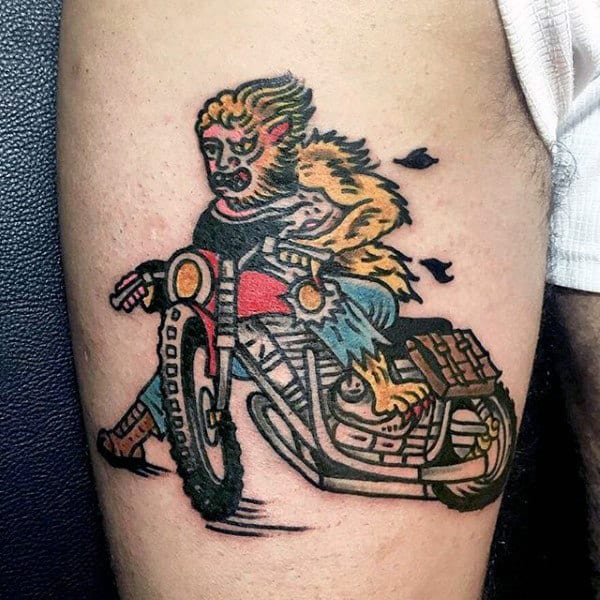 Mens Arms Werewolf On Bike Tattoo