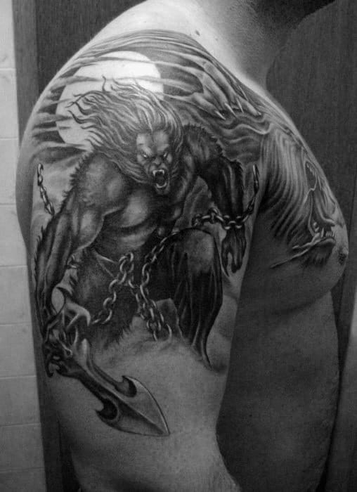 Mens Arms Werewolf Tearing Chains Tattoo