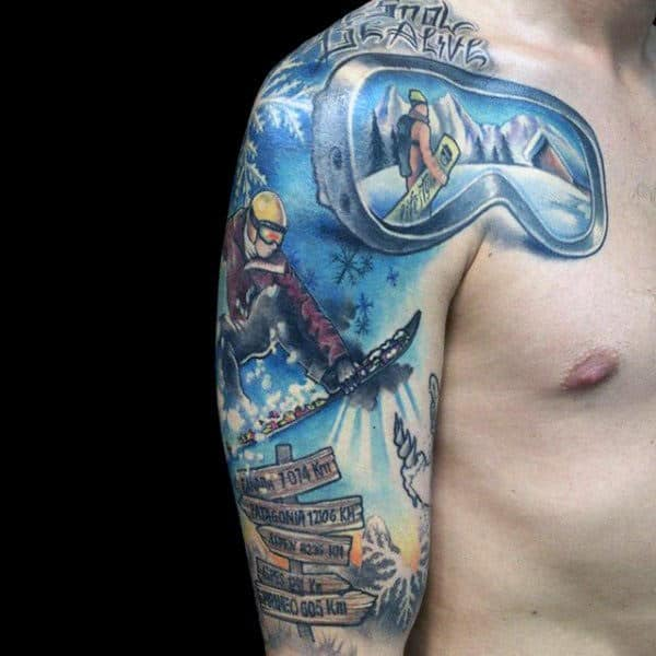 Mens Arms Wicked Snowboard Tattoo