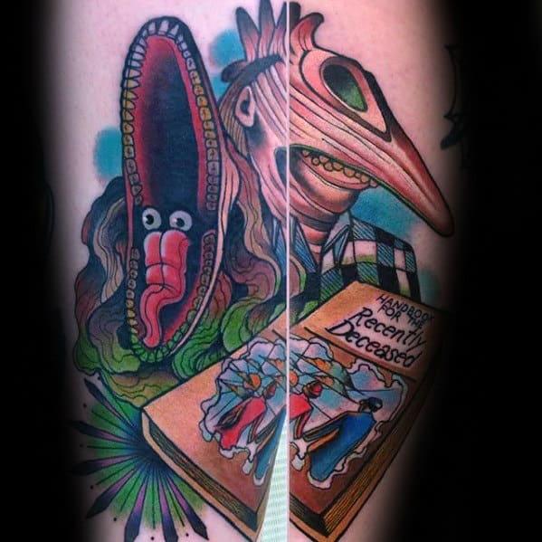 Mens Artistic Beetlejuice Themed Forearm Tattoo Ideas