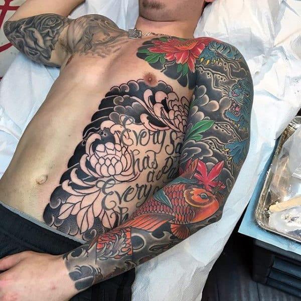 Mens Artistic Japanese Sleeve Tattoo