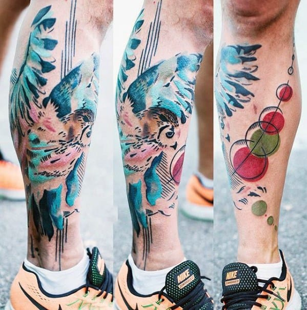 Mens Artsy Watercolor Owl Leg Tattoo