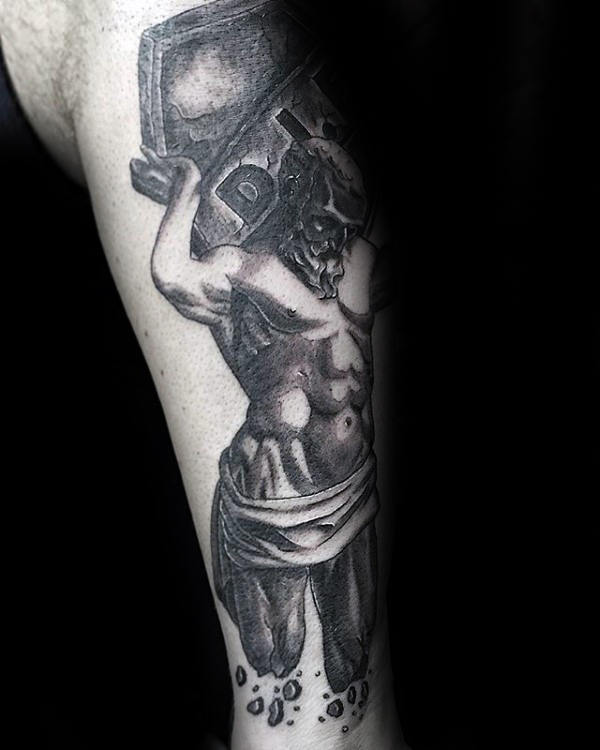 Mens Atlas Shaded Stone Tattoo On Leg
