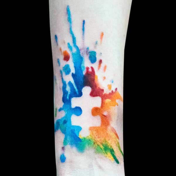 Mens Autism Puzzle Piece Tattoos Watercolor On Wrist