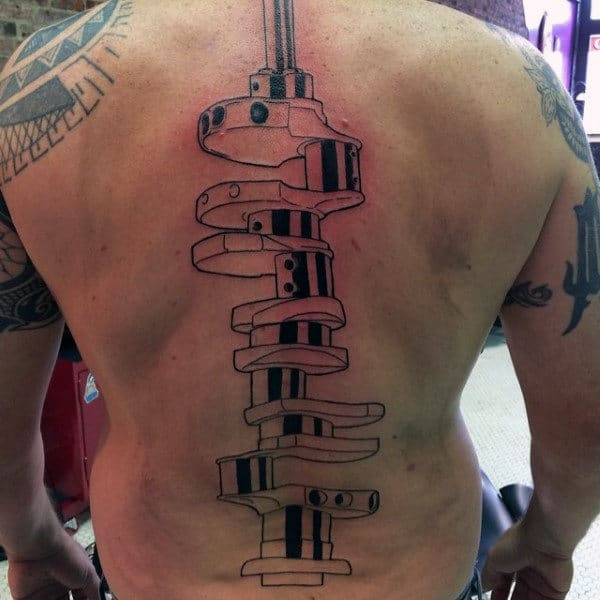 Mens Automotive Themed Camshaft Spine Tattoo In Center Of Back