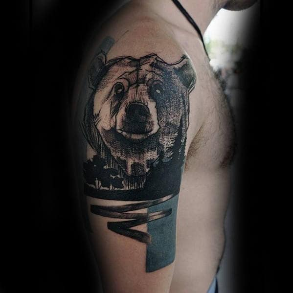 Mens Awesome Arm Nature And Bear Tattoos