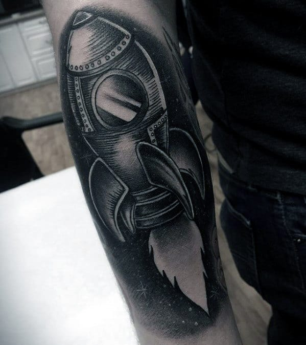 Mens Awesome Arm Rocket Ship Tattoos