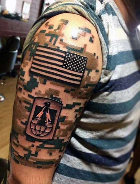 Mens Awesome Army Patch Camo 3d Arm Tattoo Designs