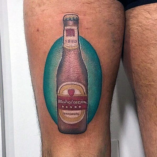 Mens Awesome Beer Tattoo Ideas On Thigh