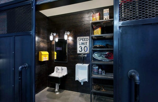 Mens Awesome Blue And Black Industrial Man Cave Bathroom Designs