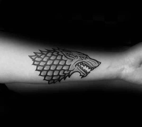 Mens Awesome Game Of Thrones Dire Wolf Inner Forearm Tattoo Ideas