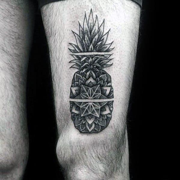 Mens Awesome Geometric Floral Thigh Pineapple Tattoo Ideas