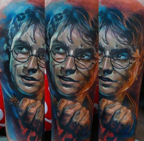 Mens Awesome Harry Potter Forearm Sleeve Portrait Tattoo Ideas