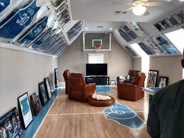Mens Awesome Man Caves Basketball Themed Designs