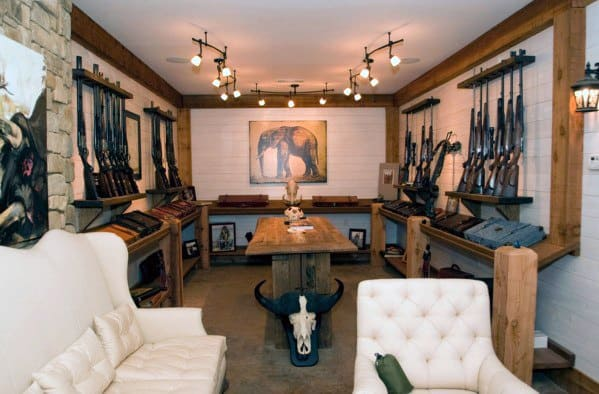 Mens Awesome Man Caves Rifle Room Designs