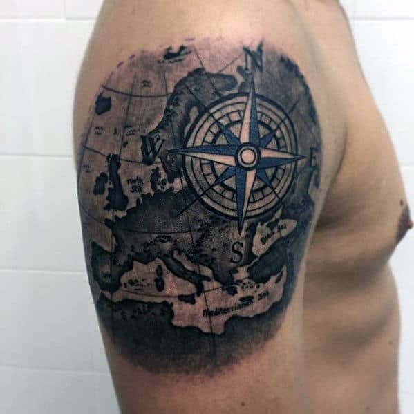 Mens Awesome Map With Compass Arm Tattoo