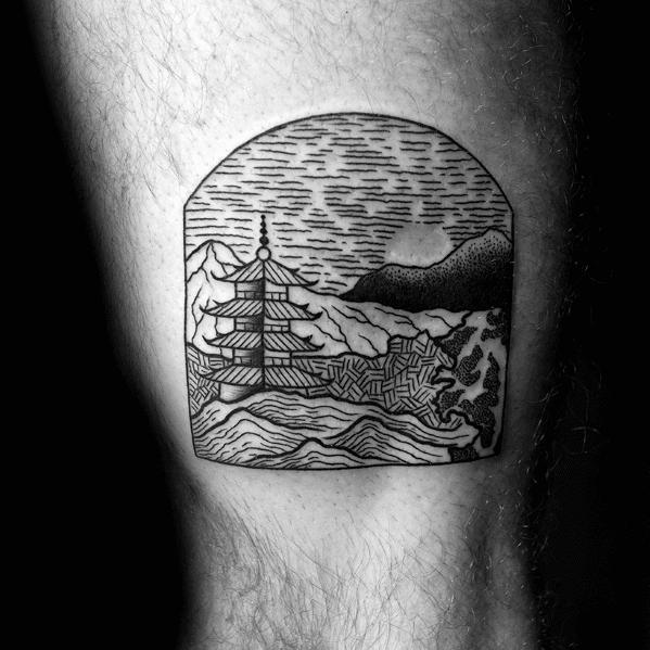 Mens Awesome Pagoda Tattoo Ideas